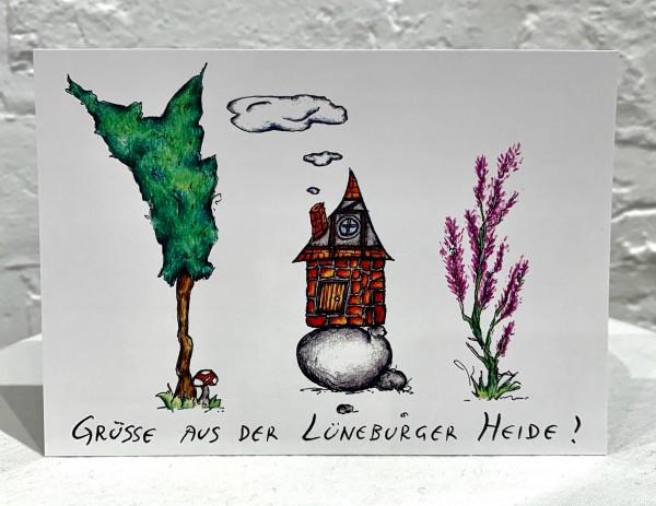 Postkarte -Grüße aus der Lüneburger Heide-